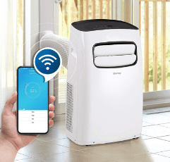 Danby Portable Air Conditioner on white tiled floor and a smartphone app control
